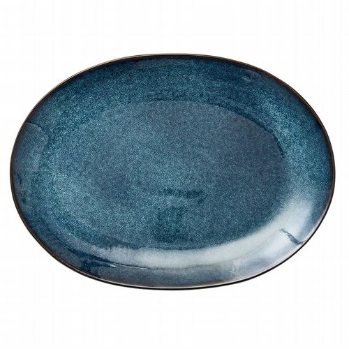 Stoneware Oval Platter - Dark Blue & Black